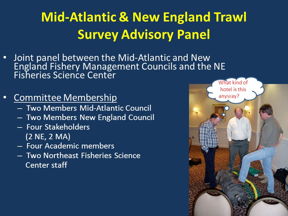 Mid-Atlantic & New England Trawl Survey Advisory Panel Joint panel between the Mid-Atlantic and New England Fishery Management Councils and the NE Fisheries Science Center Committee Membership – Two Members Mid-Atlantic Council – Two Members New England Council – Four Stakeholders (2 NE, 2 MA) – Four Academic members – Two Northeast Fisheries Science Center staff What kind of hotel is this anyway Wh