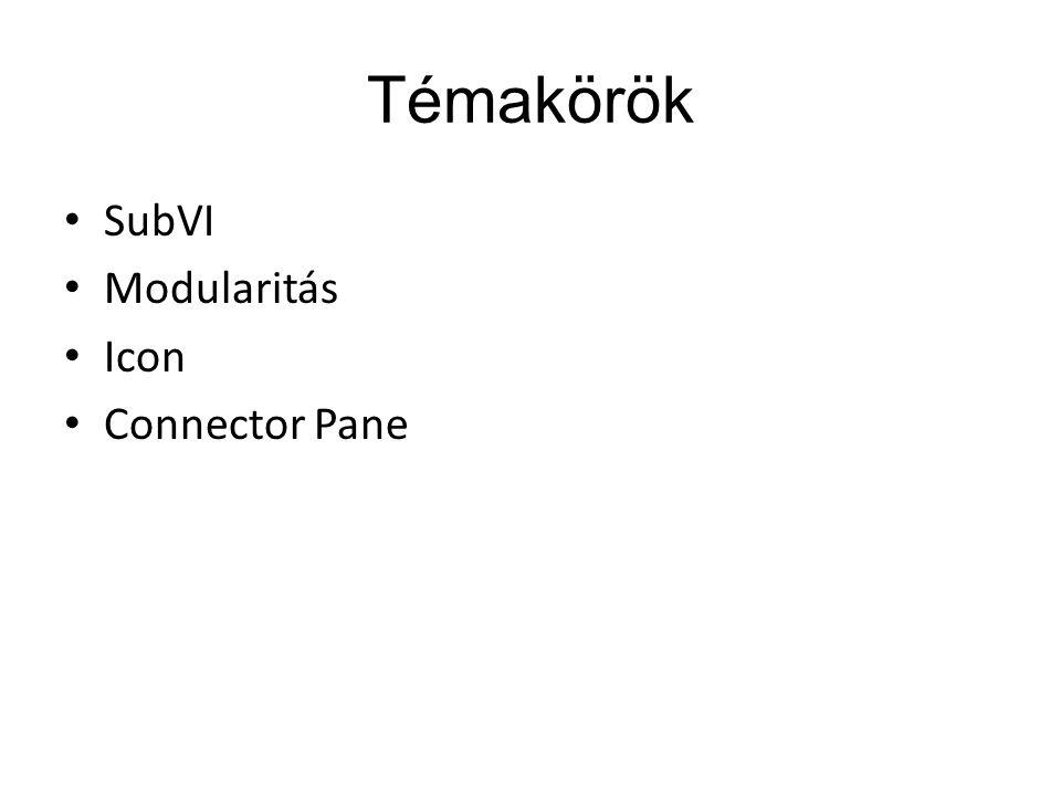 Témakörök SubVI Modularitás Icon Connector Pane