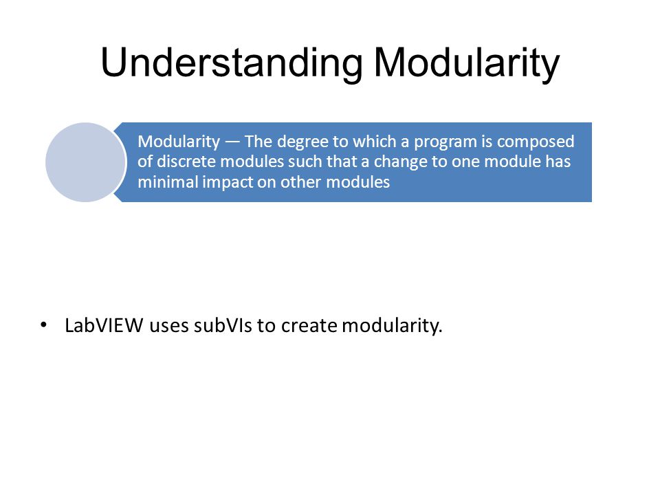 Understanding Modularity LabVIEW uses subVIs to create modularity.