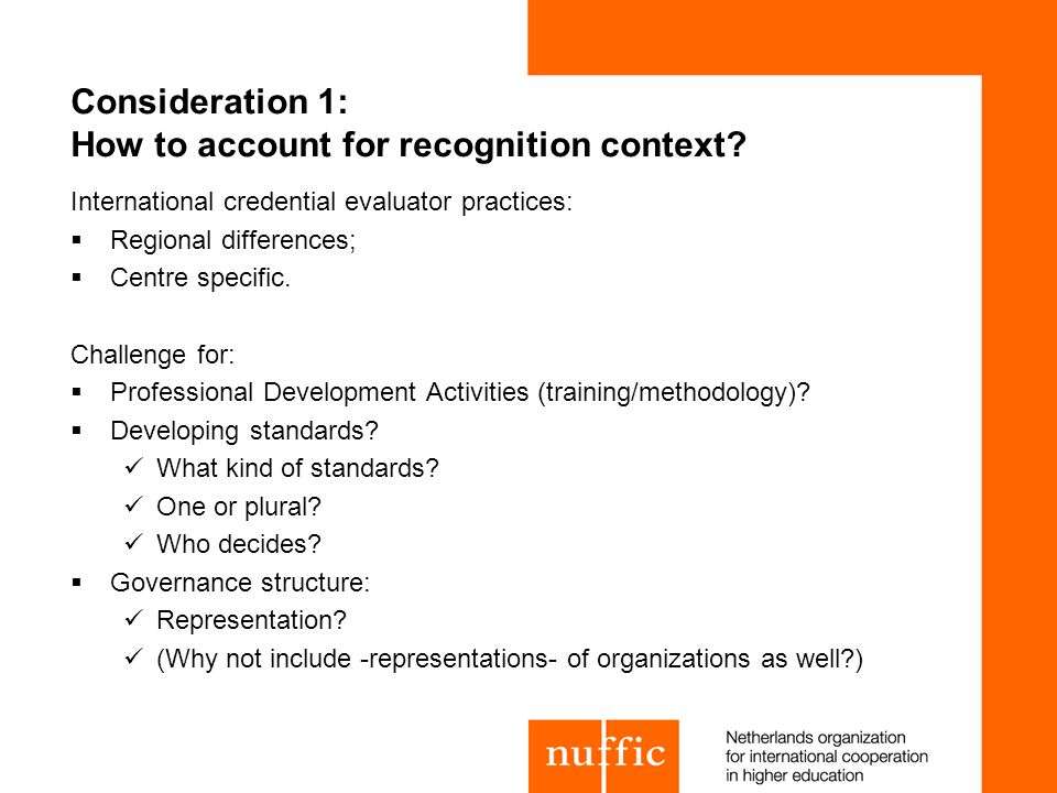 Consideration 1: How to account for recognition context.