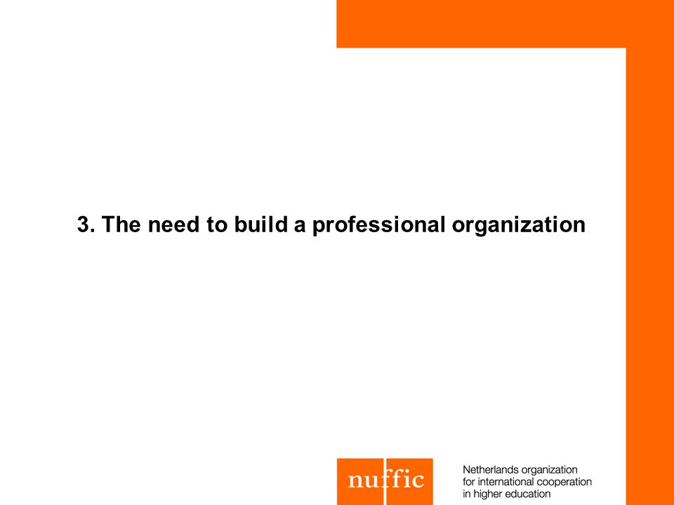 3. The need to build a professional organization
