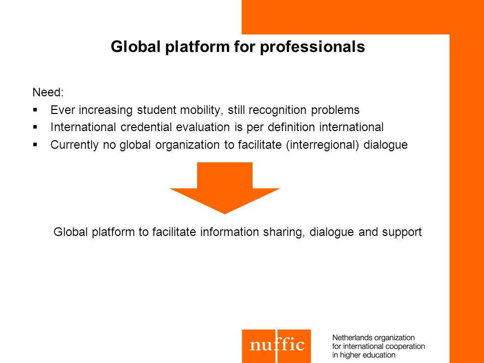 Global platform for professionals Need: Ever increasing student mobility, still recognition problems International credential evaluation is per definition international Currently no global organization to facilitate (interregional) dialogue Global platform to facilitate information sharing, dialogue and support