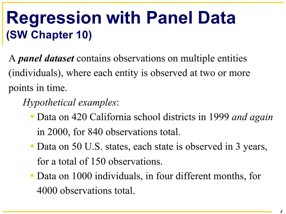 2 Regression with Panel Data (SW Chapter 10)
