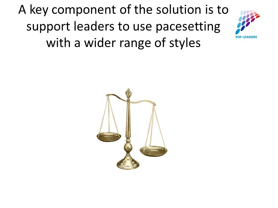 A key component of the solution is to support leaders to use pacesetting with a wider range of styles