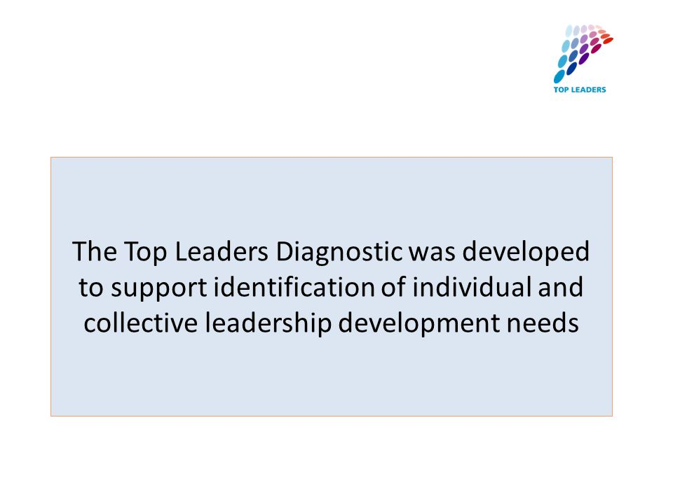The Top Leaders Diagnostic was developed to support identification of individual and collective leadership development needs
