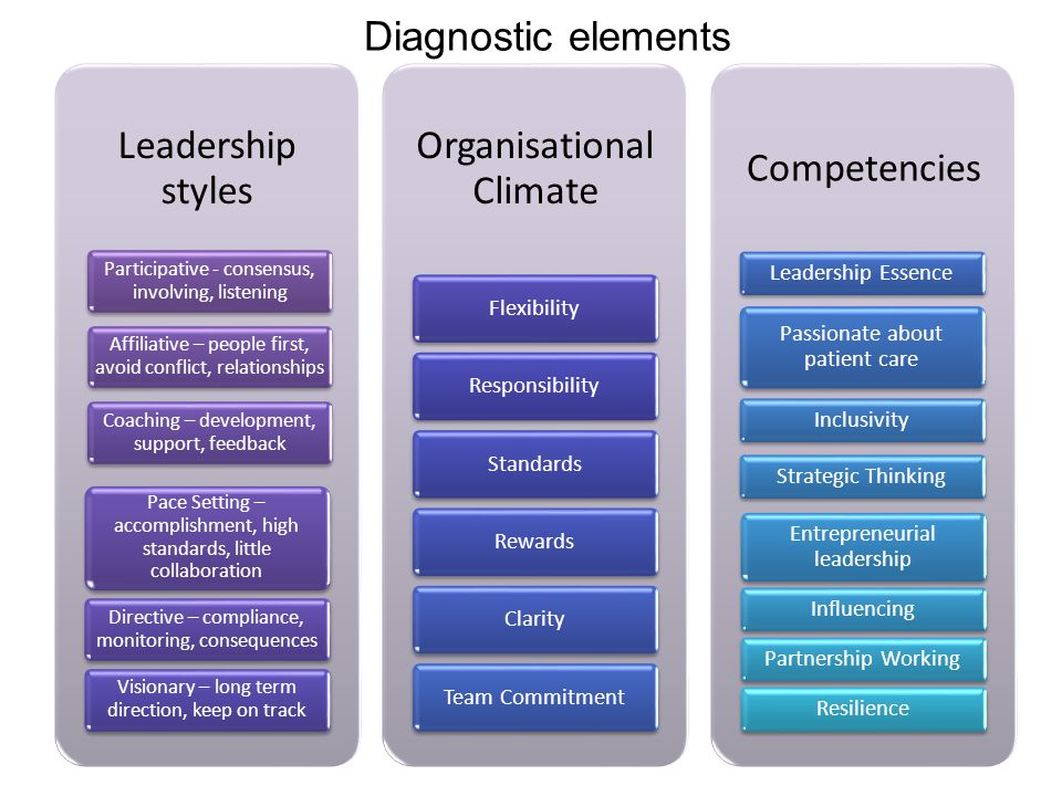 Leadership styles Participative - consensus, involving, listening Affiliative – people first, avoid conflict, relationships Coaching – development, support, feedback Pace Setting – accomplishment, high standards, little collaboration Directive – compliance, monitoring, consequences Visionary – long term direction, keep on track Organisational Climate FlexibilityResponsibilityStandardsRewardsClarityTeam Commitment Competencies Leadership Essence Passionate about patient care InclusivityStrategic Thinking Entrepreneurial leadership InfluencingPartnership WorkingResilience Diagnostic elements