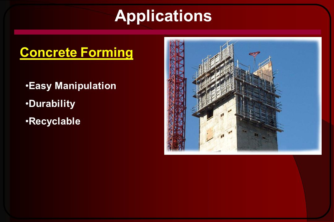Applications Concrete Forming Easy Manipulation Durability Recyclable