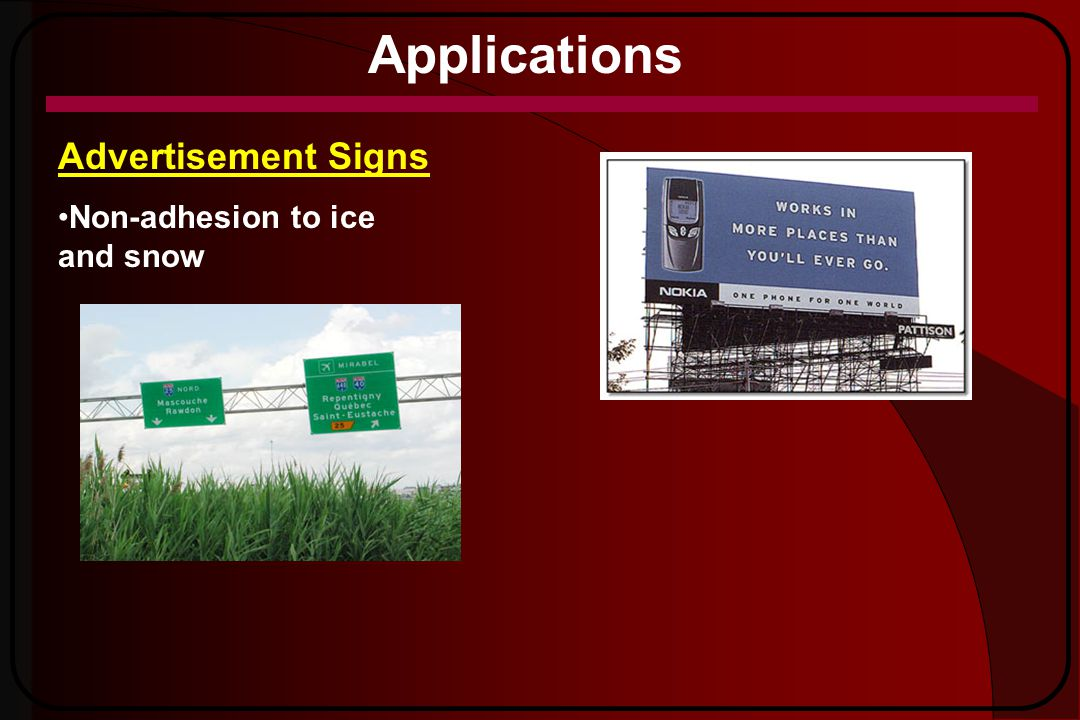 Applications Advertisement Signs Non-adhesion to ice and snow