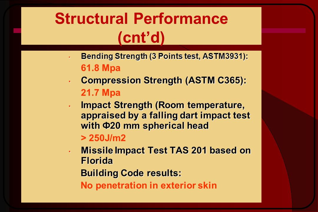 Structural Performance (cntd) Bending Strength (3 Points test, ASTM3931): Bending Strength (3 Points test, ASTM3931): 61.8 Mpa Compression Strength (ASTM C365): Compression Strength (ASTM C365): 21.7 Mpa Impact Strength (Room temperature, appraised by a falling dart impact test with Ф20 mm spherical head Impact Strength (Room temperature, appraised by a falling dart impact test with Ф20 mm spherical head > 250J/m2 Missile Impact Test TAS 201 based on Florida Missile Impact Test TAS 201 based on Florida Building Code results: No penetration in exterior skin