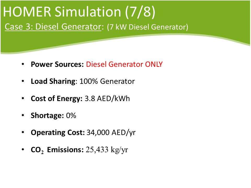 HOMER Simulation (7/8) Case 3: Diesel Generator: (7 kW Diesel Generator) Power Sources: Diesel Generator ONLY Load Sharing: 100% Generator Cost of Energy: 3.8 AED/kWh Shortage: 0% Operating Cost: 34,000 AED/yr CO 2 Emissions : 25,433 kg/yr