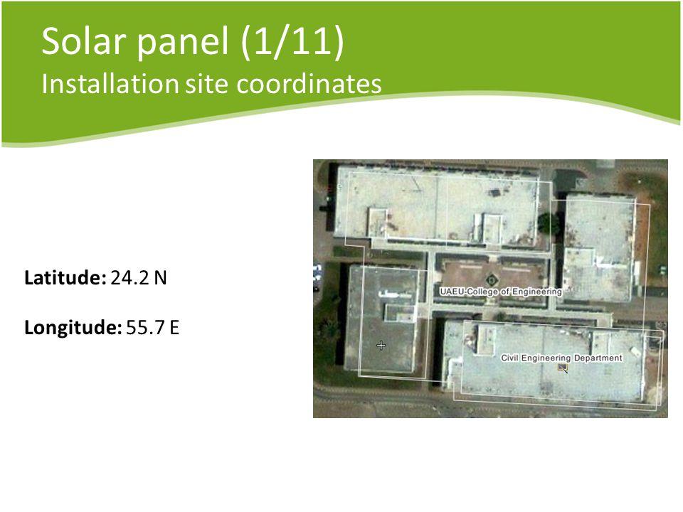 Solar panel (1/11) Installation site coordinates Latitude: 24.2 N Longitude: 55.7 E