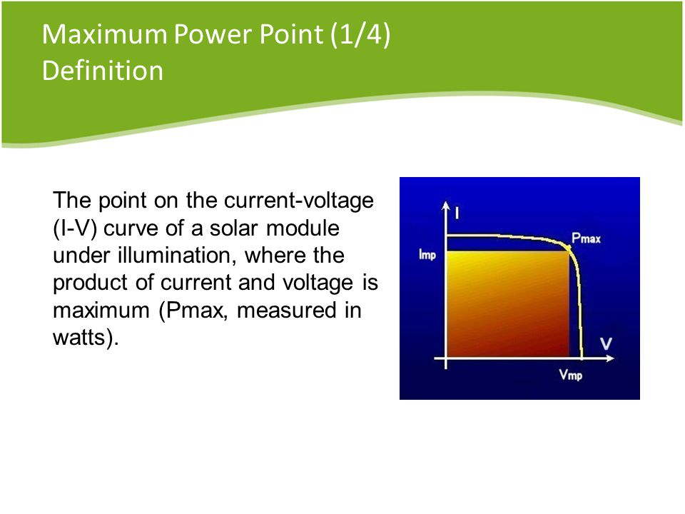 Maximum Power Point (1/4) Definition The point on the current-voltage (I-V) curve of a solar module under illumination, where the product of current and voltage is maximum (Pmax, measured in watts).