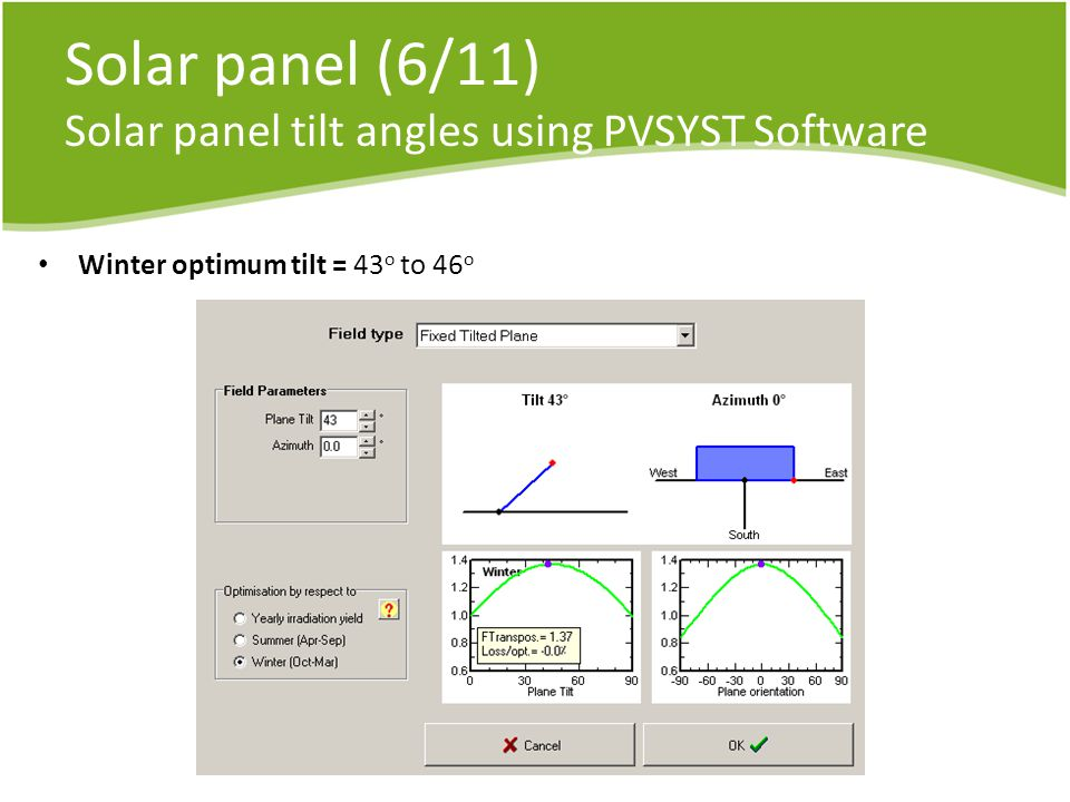 Solar panel (6/11) Solar panel tilt angles using PVSYST Software Winter optimum tilt = 43 o to 46 o