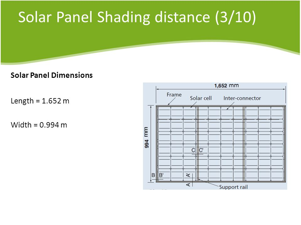Solar Panel Shading distance (3/10) Solar Panel Dimensions Length = m Width = m mm