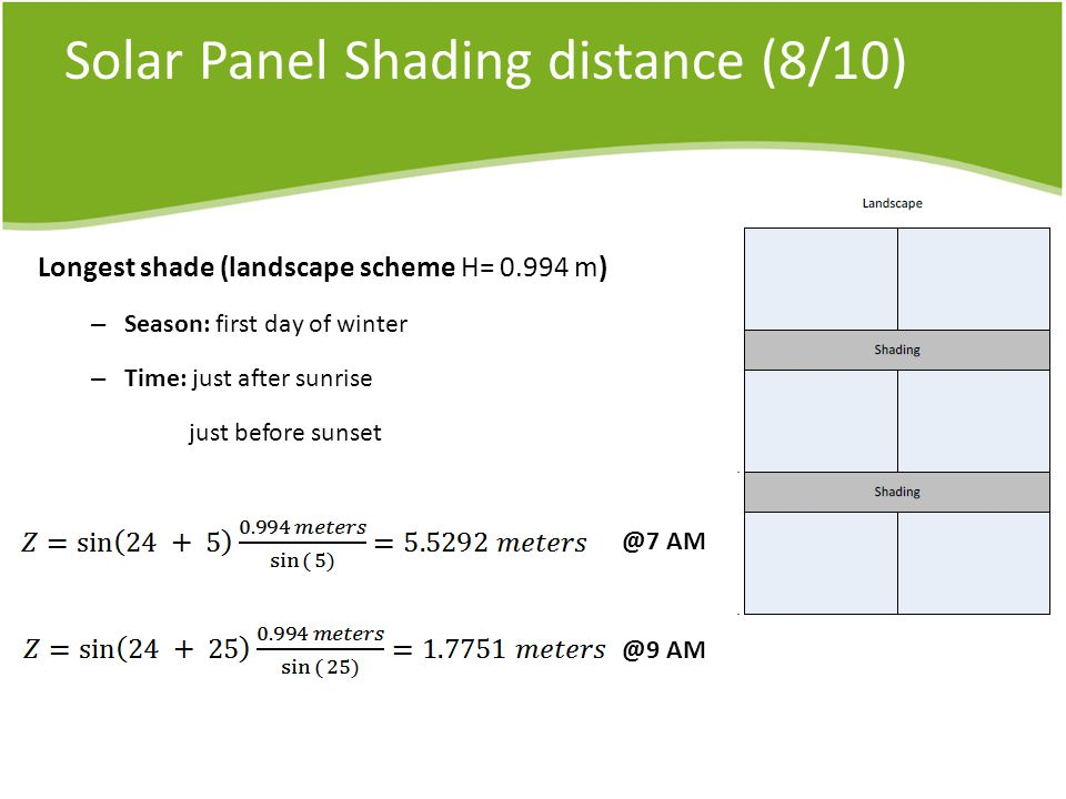 Solar Panel Shading distance (8/10) Longest shade (landscape scheme H= m) – Season: first day of winter – Time: just after sunrise just before  AM
