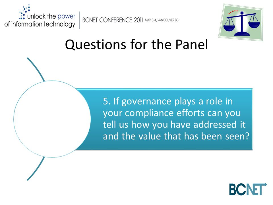 Questions for the Panel 5.