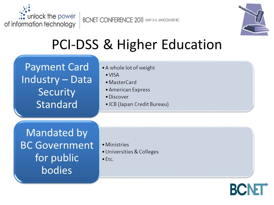 PCI-DSS & Higher Education A whole lot of weight VISA MasterCard American Express Discover JCB (Japan Credit Bureau) Payment Card Industry – Data Security Standard Ministries Universities & Colleges Etc.