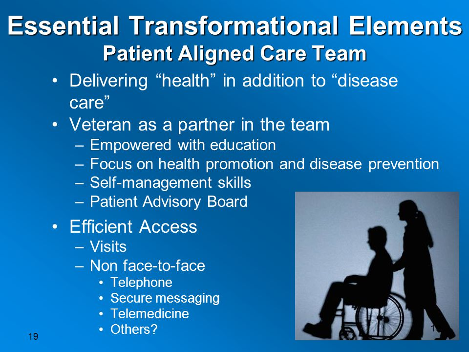 19 Essential Transformational Elements Patient Aligned Care Team Delivering health in addition to disease care Veteran as a partner in the team –Empowered with education –Focus on health promotion and disease prevention –Self-management skills –Patient Advisory Board Efficient Access –Visits –Non face-to-face Telephone Secure messaging Telemedicine Others.