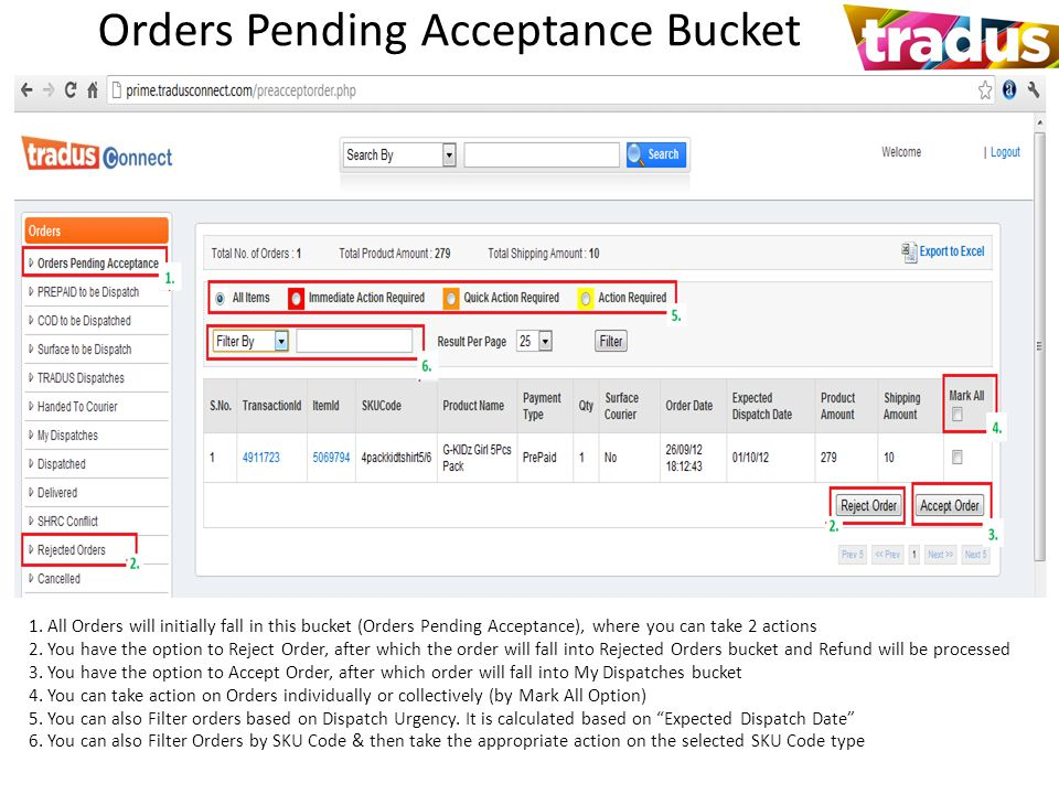 Orders Pending Acceptance Bucket 1.