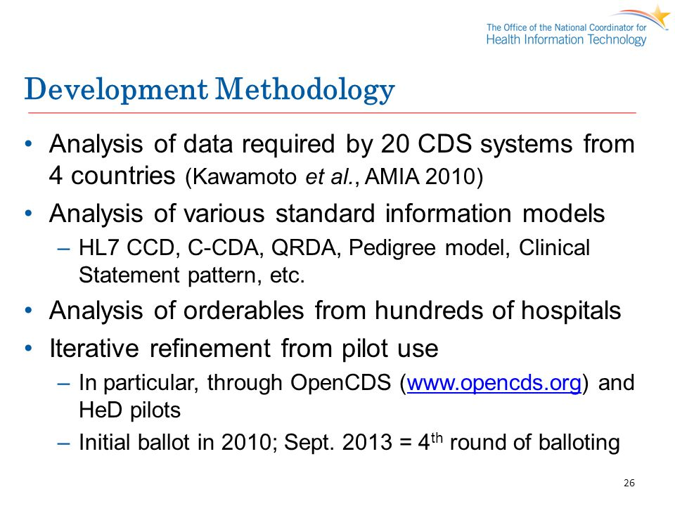 Development Methodology Analysis of data required by 20 CDS systems from 4 countries (Kawamoto et al., AMIA 2010) Analysis of various standard informa