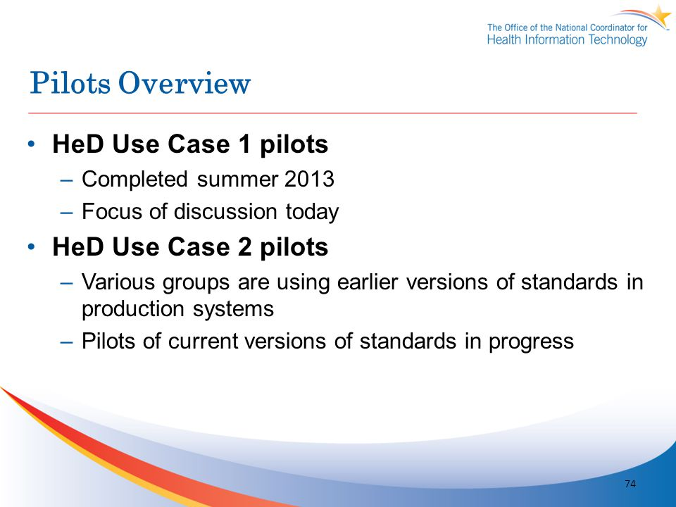 Pilots Overview HeD Use Case 1 pilots –Completed summer 2013 –Focus of discussion today HeD Use Case 2 pilots –Various groups are using earlier versio