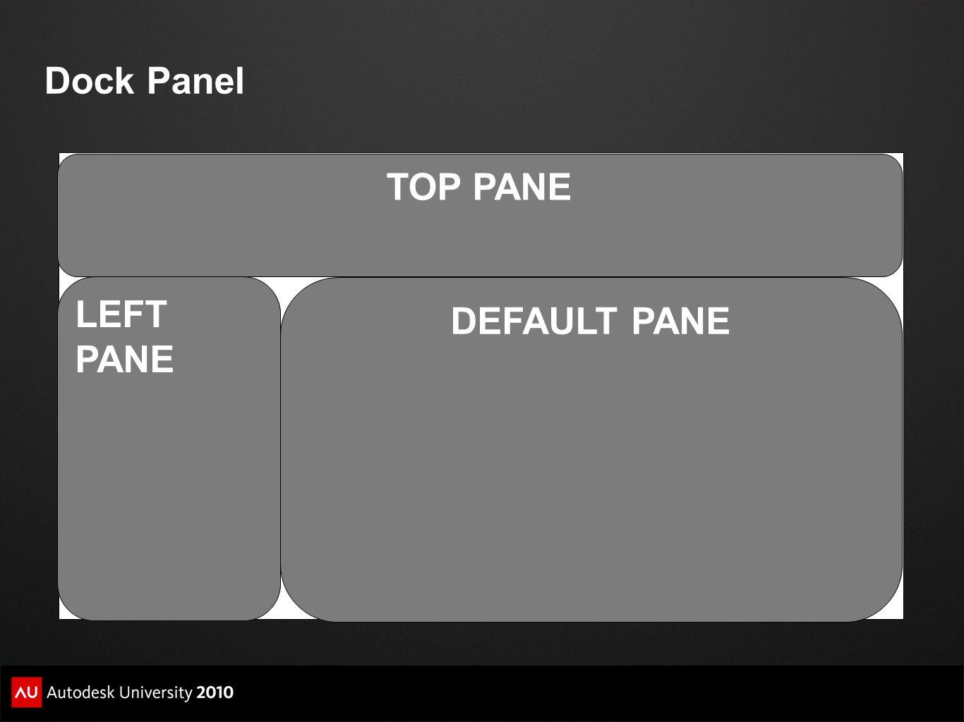 Dock Panel TOP PANE LEFT PANE DEFAULT PANE