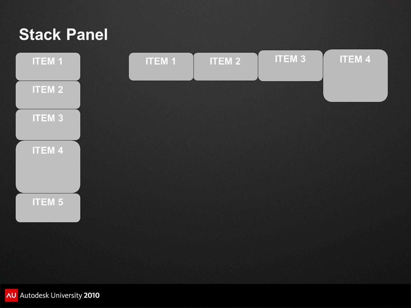 Stack Panel ITEM 2 ITEM 3 ITEM 4 ITEM 5 ITEM 1ITEM 2 ITEM 3 ITEM 4 ITEM 1