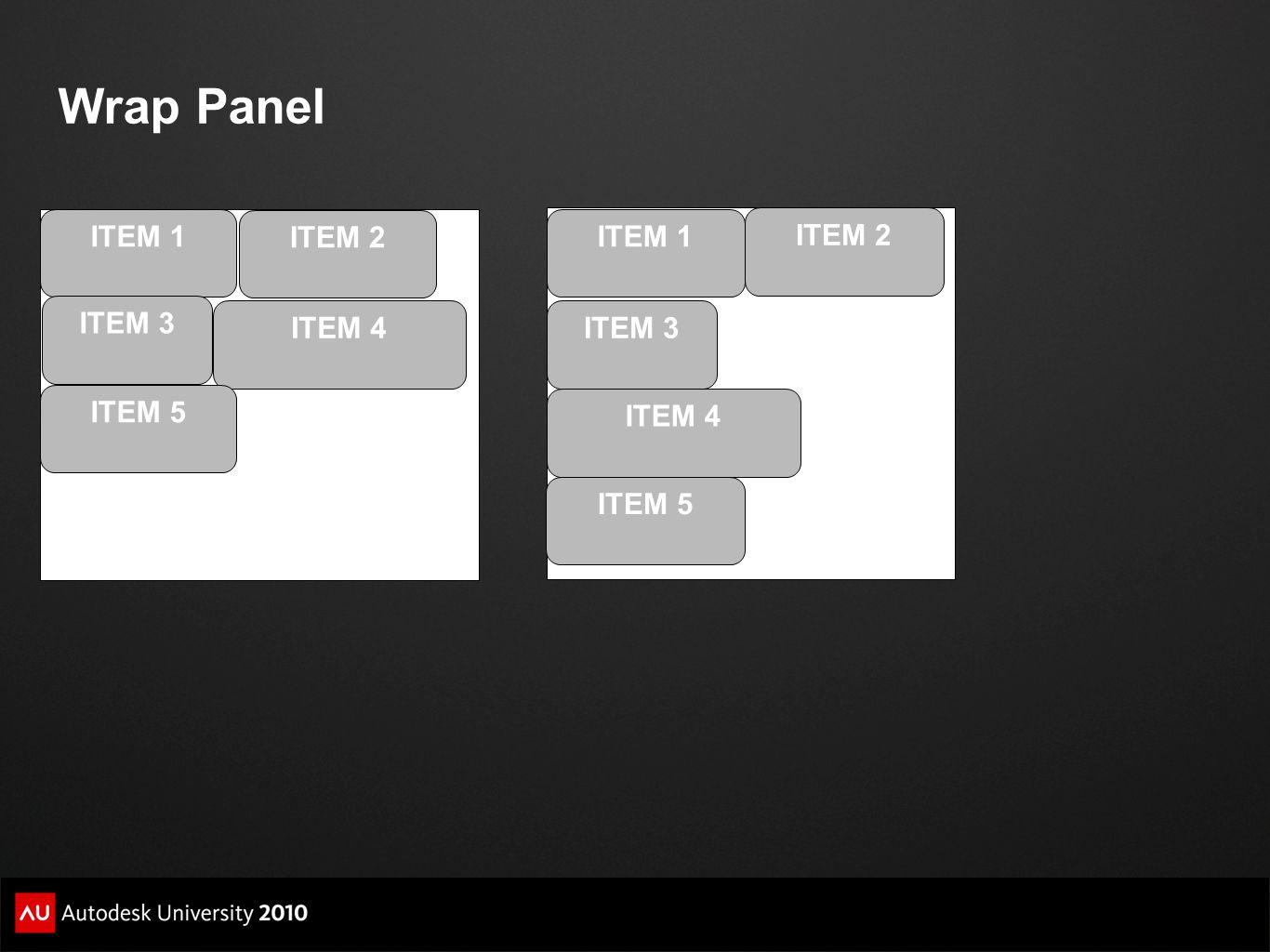 Wrap Panel ITEM 1 ITEM 2 ITEM 3 ITEM 4 ITEM 5 ITEM 1 ITEM 2 ITEM 3 ITEM 4 ITEM 5