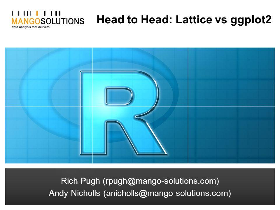 Rich Pugh (rpugh@mango-solutions.com) Andy Nicholls (anicholls@mango-solutions.com) Head to Head: Lattice vs ggplot2 Rich Pugh (rpugh@mango-solutions.