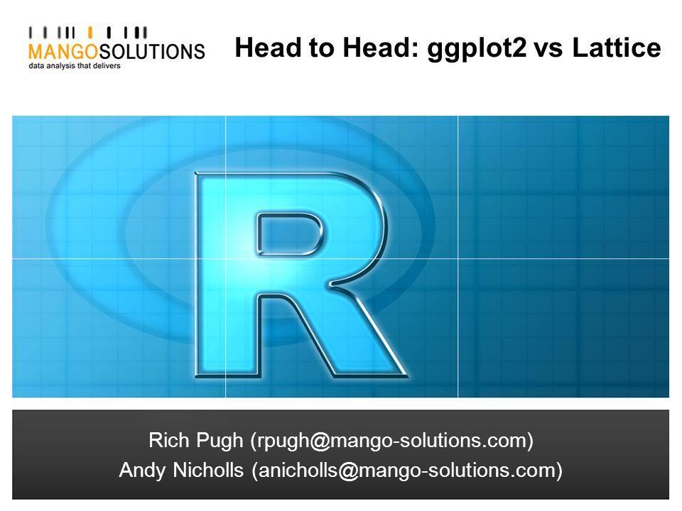 Rich Pugh (rpugh@mango-solutions.com) Andy Nicholls (anicholls@mango-solutions.com) Head to Head: ggplot2 vs Lattice Rich Pugh (rpugh@mango-solutions.