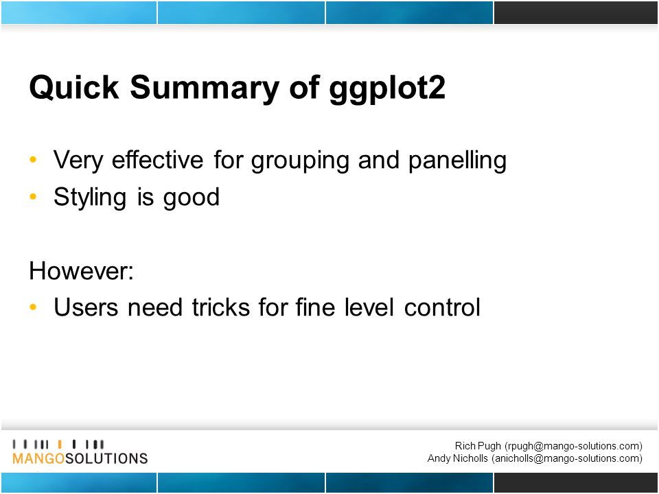 Rich Pugh (rpugh@mango-solutions.com) Andy Nicholls (anicholls@mango-solutions.com) Quick Summary of ggplot2 Very effective for grouping and panelling