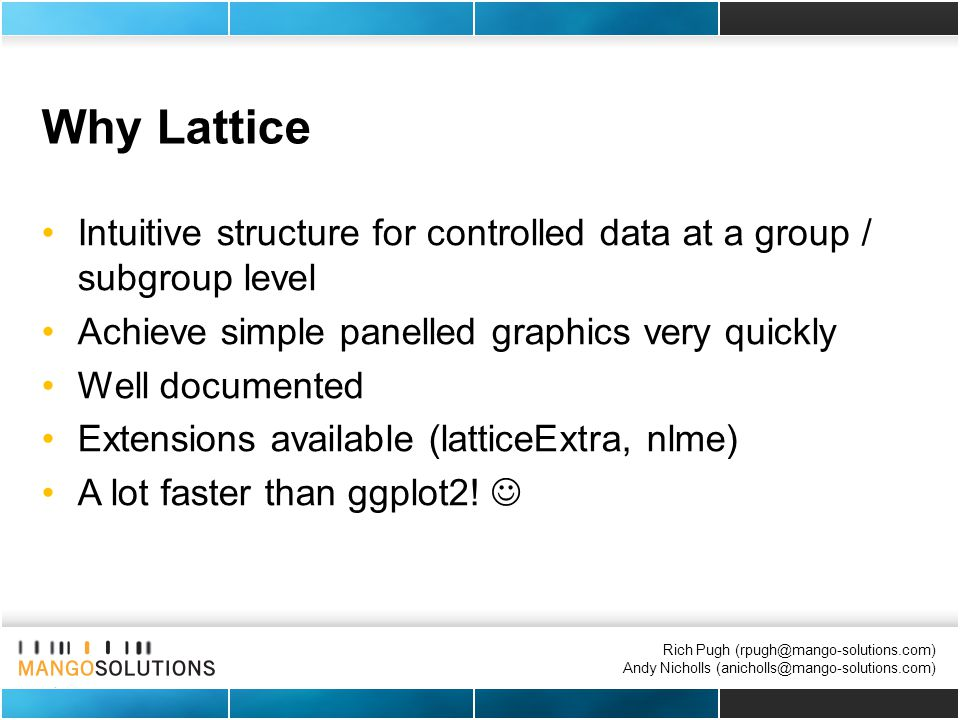 Rich Pugh (rpugh@mango-solutions.com) Andy Nicholls (anicholls@mango-solutions.com) Why Lattice Intuitive structure for controlled data at a group / subgroup level Achieve simple panelled graphics very quickly Well documented Extensions available (latticeExtra, nlme) A lot faster than ggplot2!