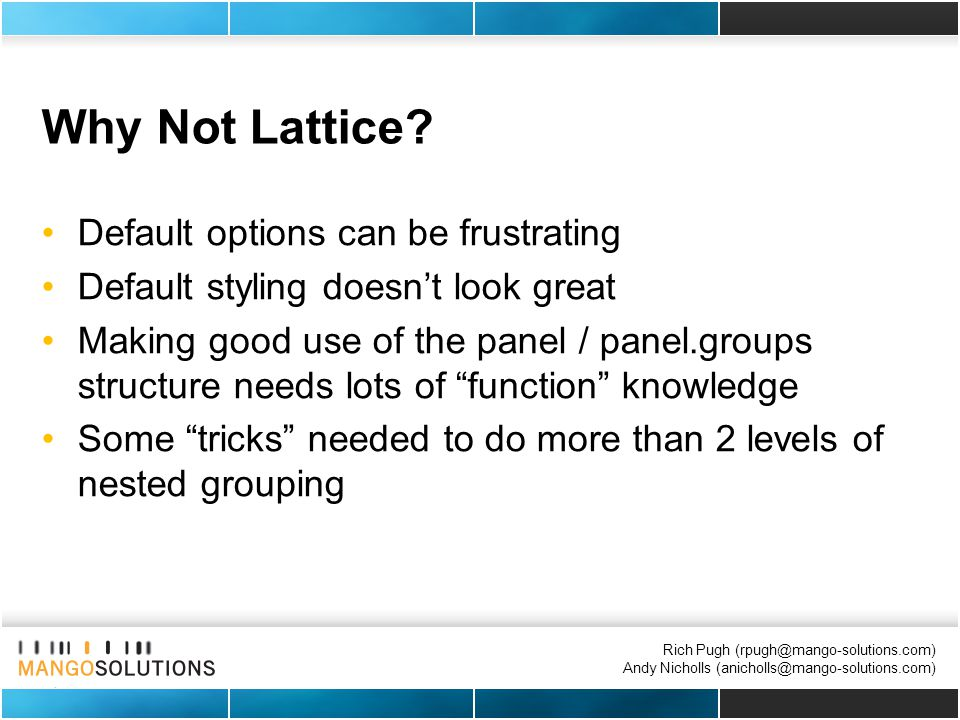 Rich Pugh (rpugh@mango-solutions.com) Andy Nicholls (anicholls@mango-solutions.com) Why Not Lattice.