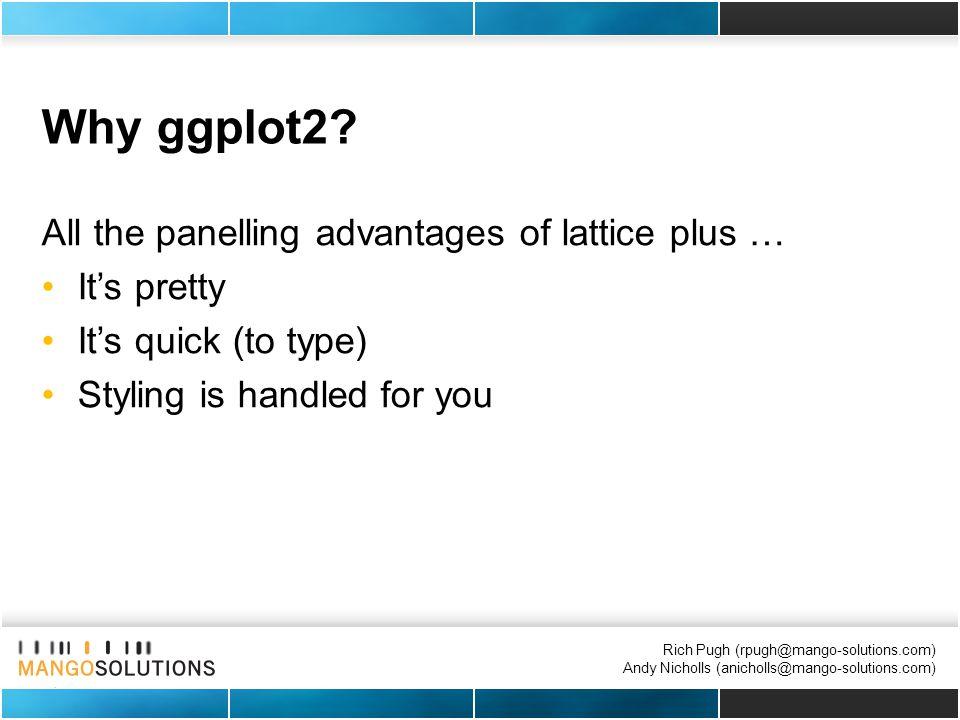 Rich Pugh (rpugh@mango-solutions.com) Andy Nicholls (anicholls@mango-solutions.com) Why ggplot2.