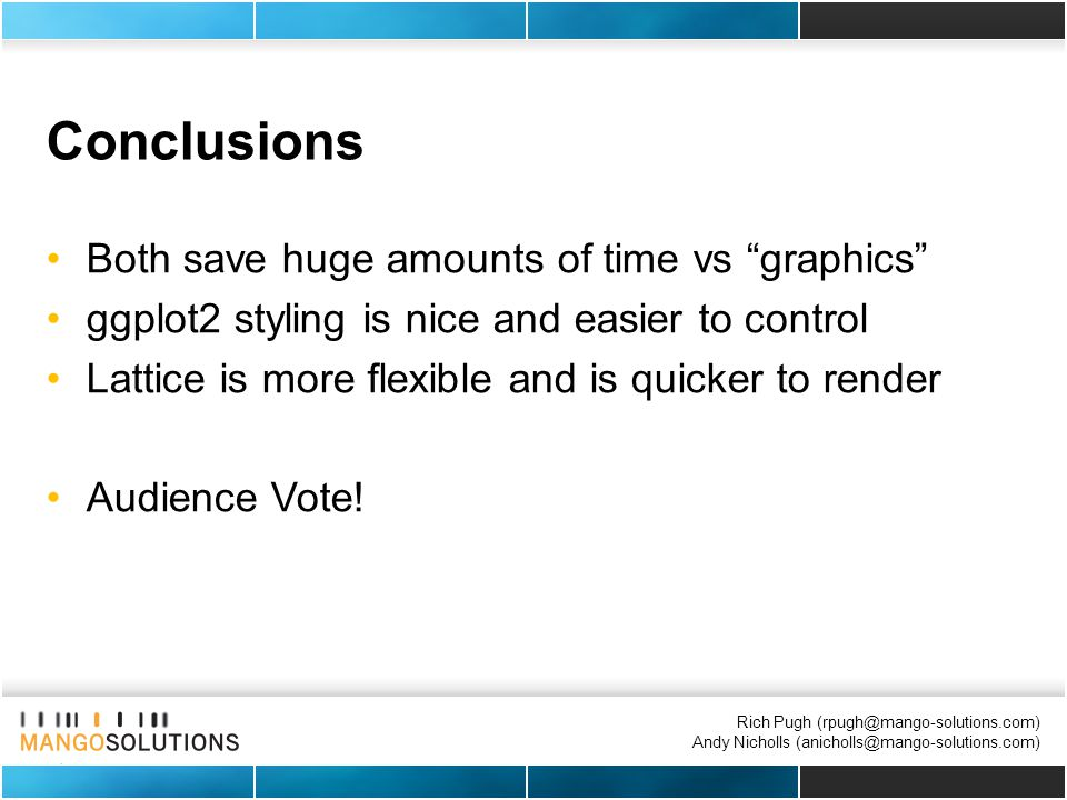 Rich Pugh (rpugh@mango-solutions.com) Andy Nicholls (anicholls@mango-solutions.com) Conclusions Both save huge amounts of time vs graphics ggplot2 styling is nice and easier to control Lattice is more flexible and is quicker to render Audience Vote!