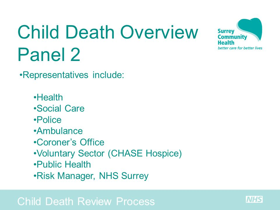 Child Death Review Process Child Death Overview Panel 2 Representatives include: Health Social Care Police Ambulance Coroners Office Voluntary Sector