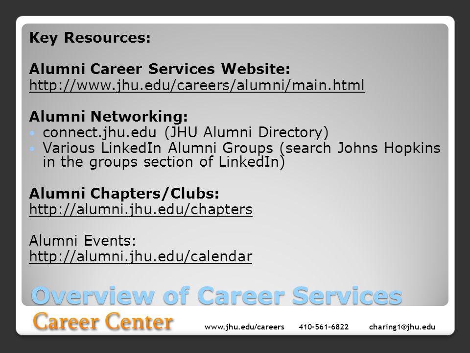 www.jhu.edu/careers410-561-6822 charing1@jhu.edu Overview of Career Services Key Resources: Alumni Career Services Website: http://www.jhu.edu/careers
