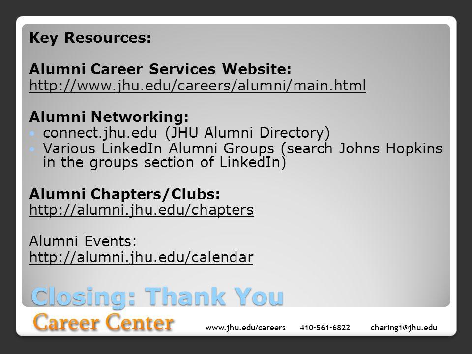 www.jhu.edu/careers410-561-6822 charing1@jhu.edu Closing: Thank You Key Resources: Alumni Career Services Website: http://www.jhu.edu/careers/alumni/m