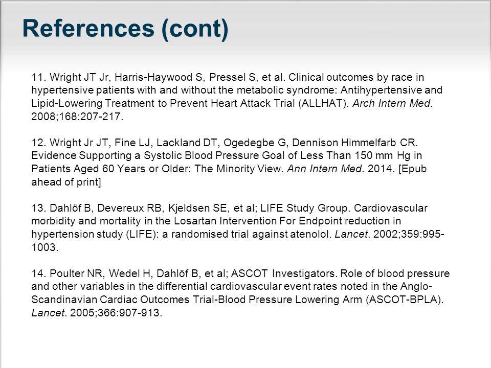References (cont) 11.Wright JT Jr, Harris-Haywood S, Pressel S, et al.