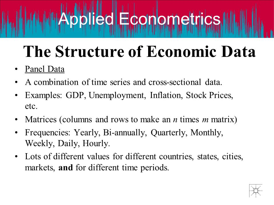 Applied Econometrics The Structure of Economic Data Panel Data A combination of time series and cross-sectional data. Examples: GDP, Unemployment, Inf