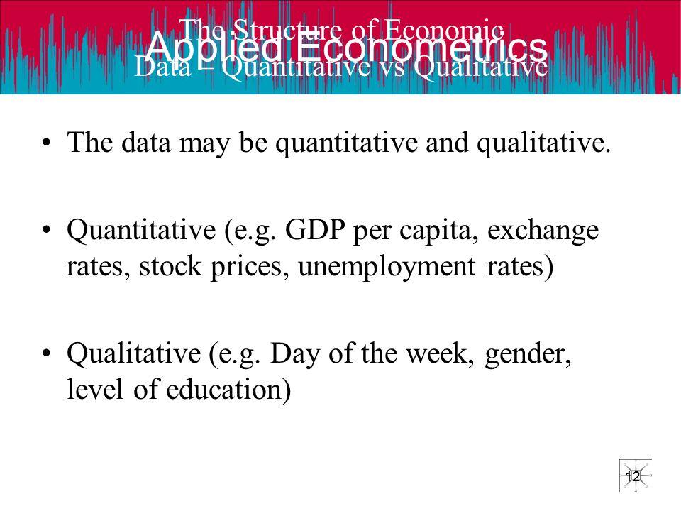 Applied Econometrics 12 The Structure of Economic Data – Quantitative vs Qualitative The data may be quantitative and qualitative. Quantitative (e.g.
