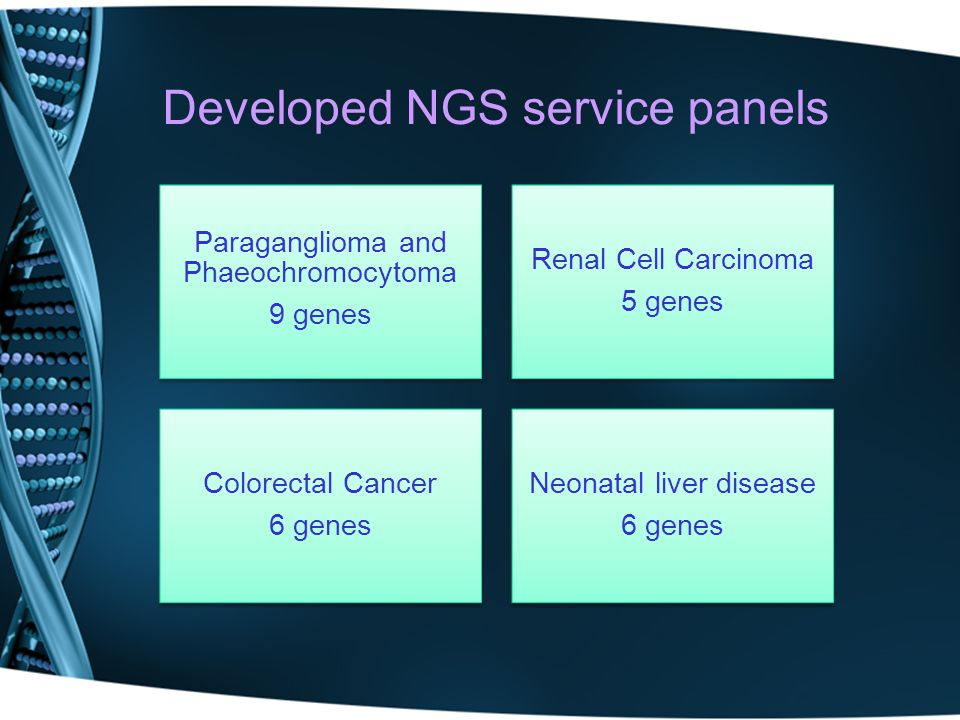 Paraganglioma and Phaeochromocytoma 9 genes Renal Cell Carcinoma 5 genes Colorectal Cancer 6 genes Neonatal liver disease 6 genes Developed NGS servic