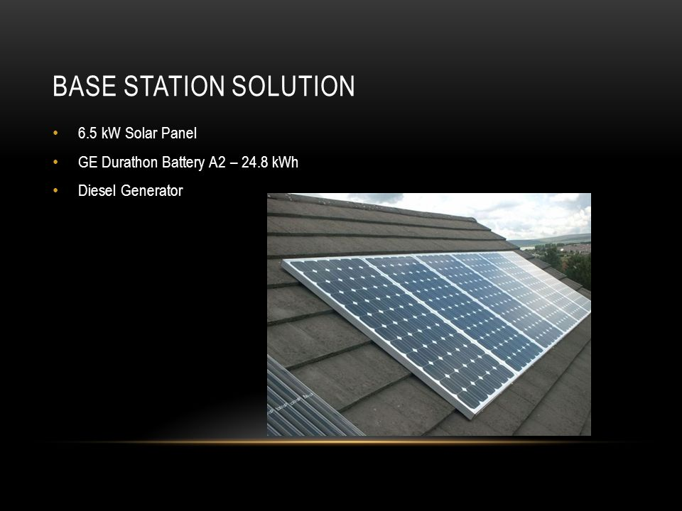 BASE STATION SOLUTION 6.5 kW Solar Panel GE Durathon Battery A2 – 24.8 kWh Diesel Generator