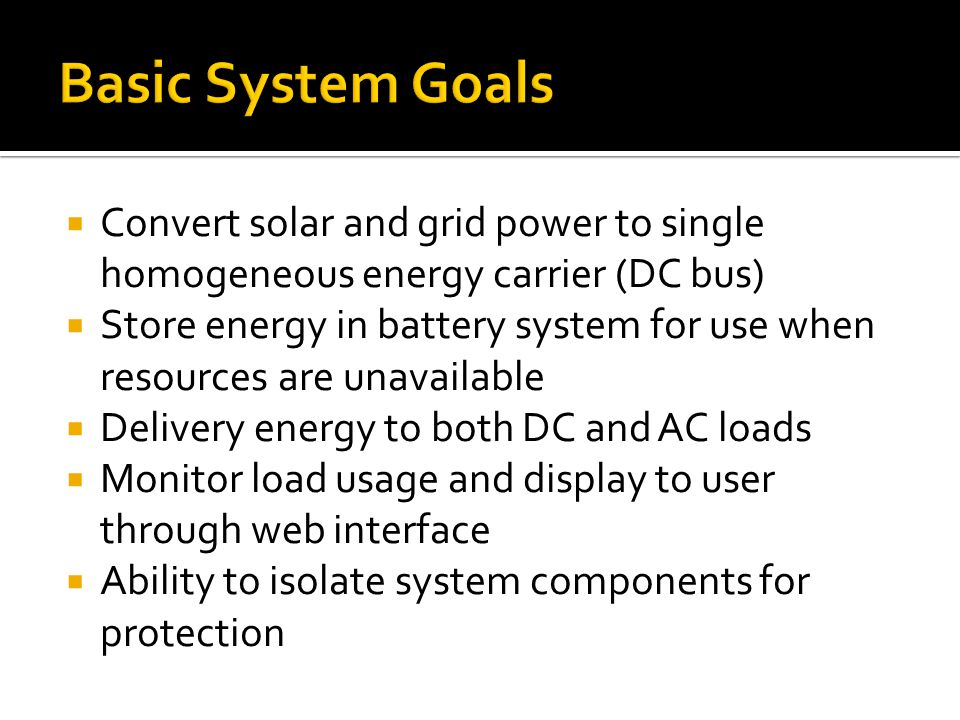 Convert solar and grid power to single homogeneous energy carrier (DC bus) Store energy in battery system for use when resources are unavailable Delivery energy to both DC and AC loads Monitor load usage and display to user through web interface Ability to isolate system components for protection