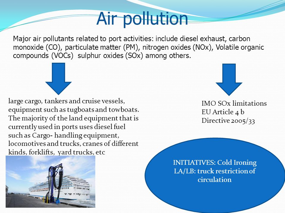 Air pollution Major air pollutants related to port activities: include diesel exhaust, carbon monoxide (CO), particulate matter (PM), nitrogen oxides
