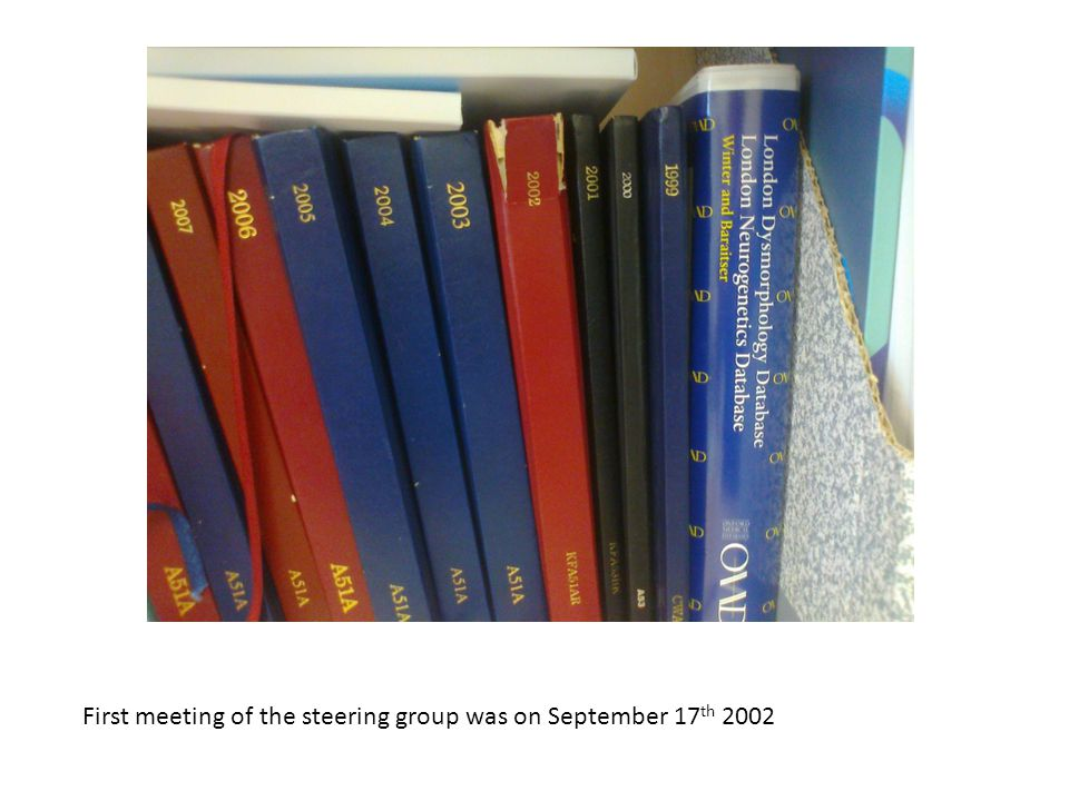 First meeting of the steering group was on September 17 th 2002
