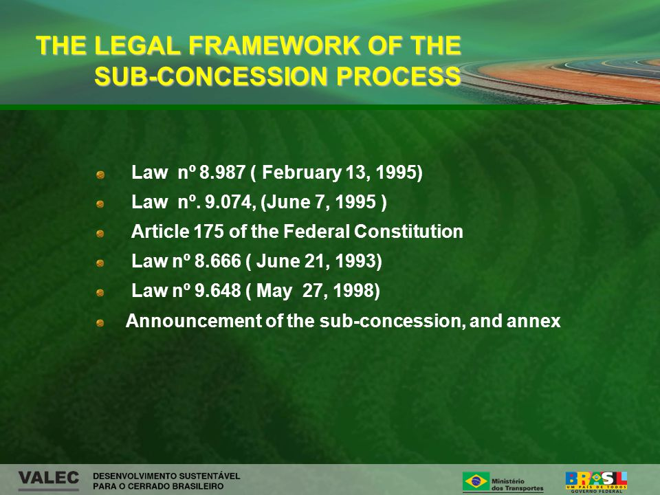 Law nº 8.987 ( February 13, 1995) Law nº. 9.074, (June 7, 1995 ) Article 175 of the Federal Constitution Law nº 8.666 ( June 21, 1993) Law nº 9.648 (