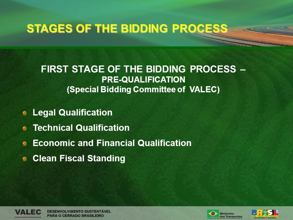 FIRST STAGE OF THE BIDDING PROCESS – PRE-QUALIFICATION (Special Bidding Committee of VALEC) Legal Qualification Technical Qualification Economic and Financial Qualification Clean Fiscal Standing STAGES OF THE BIDDING PROCESS