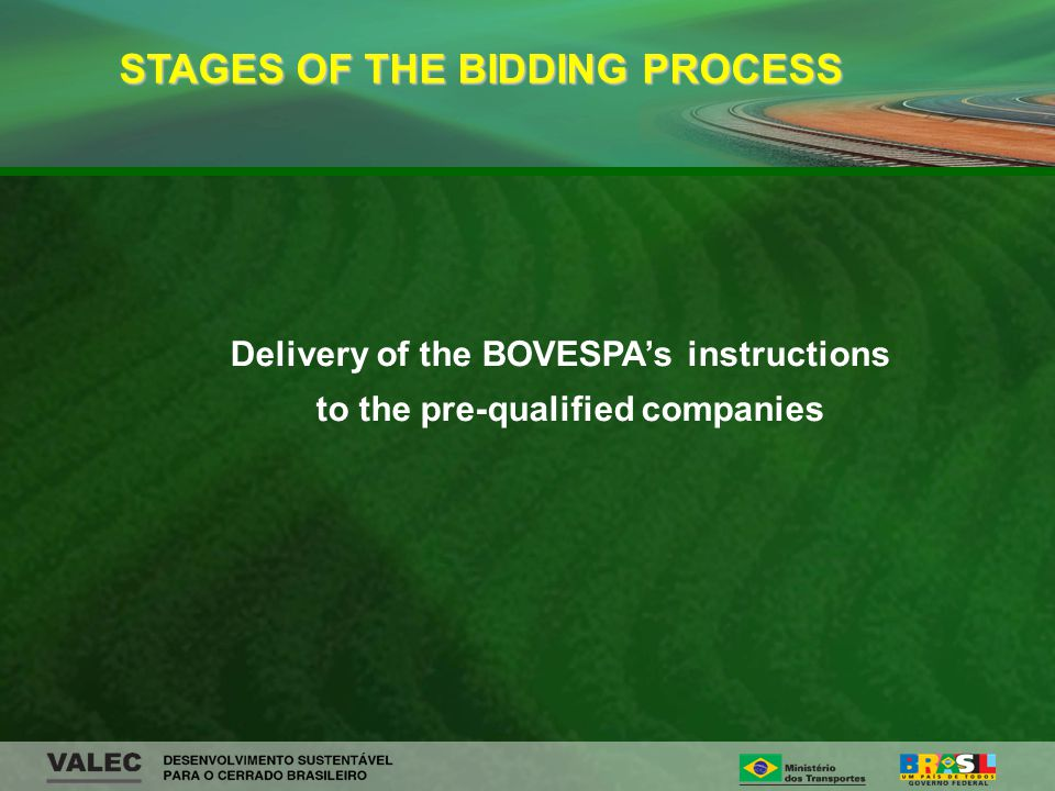Delivery of the BOVESPAs instructions to the pre-qualified companies STAGES OF THE BIDDING PROCESS