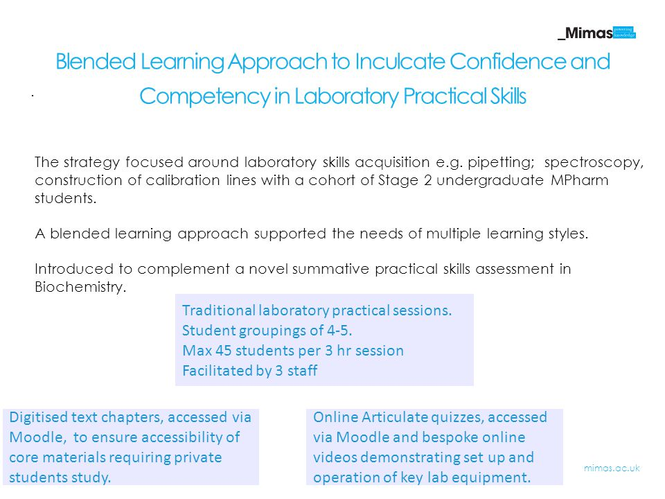 Blended Learning Approach to Inculcate Confidence and Competency in Laboratory Practical Skills Digitised text chapters, accessed via Moodle, to ensure accessibility of core materials requiring private students study.